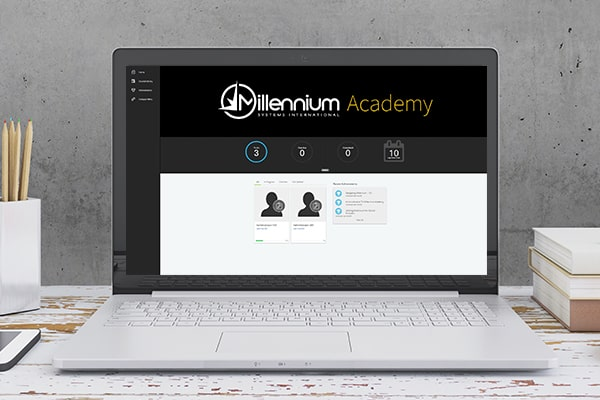 Millennium Academy shown on laptop