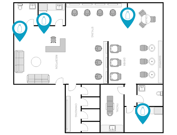 salon and spa floor plan indicating inventory locations