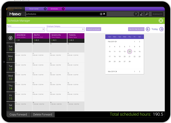 Meevo 2 Scheduling Manager in a tablet