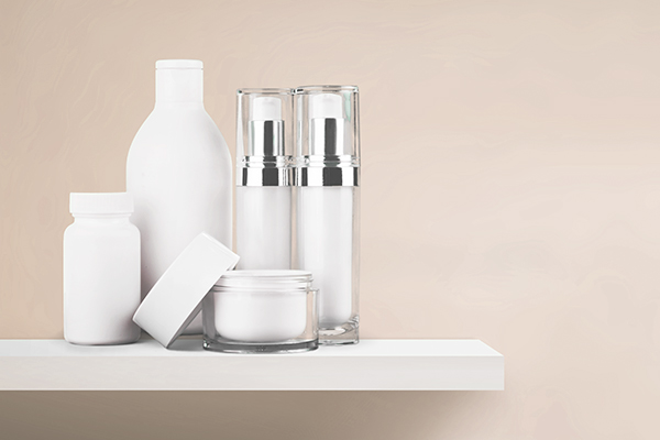 Salon and spa cosmetics bottles on a shelf
