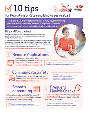10 Tips for Recruiting & Retention in 2021 by ADP